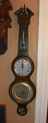 English Wall Barometer/Thermometer with Clock. Circa 1920-1930.