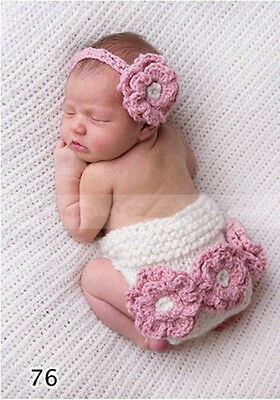 Baby Crochet Pink Nappy Cover Headband Set -Newborn Girl Outfit Photo Prop