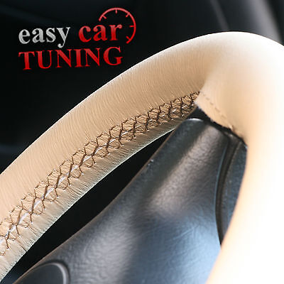 For Toyota Land Cruiser Hdj 100 98-07 Beige Genuine Leather Steering Wheel Cover