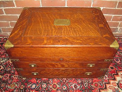 Rare Brass Mounted Oak Silver Storage Chest-Absolute Best!