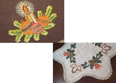 Decorate W/ Christmas Glamour! Vintage Hand Embroidered Brown Wool Runner + Star