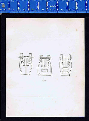 Ancient Musical Lyres -Roman & Greek History-1809 Copper Plate Engraving