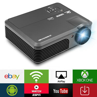 Android WiFi 4200lm LED Home Cinema Projector HD 1080p HDMI USB VGA TV Wireless
