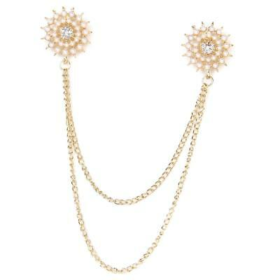 Pearl Beaded Flower Gold Tassel Chain Shirt Collar Neck Tips Brooch Pin Punk