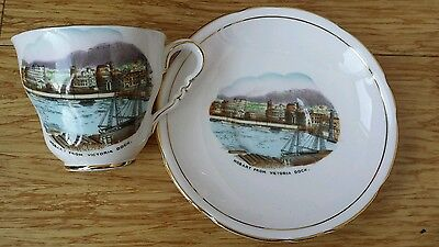 Vintage Souvenir Tea cup& Saucer Hobart from Victoria Dock.Royal Stafford China.