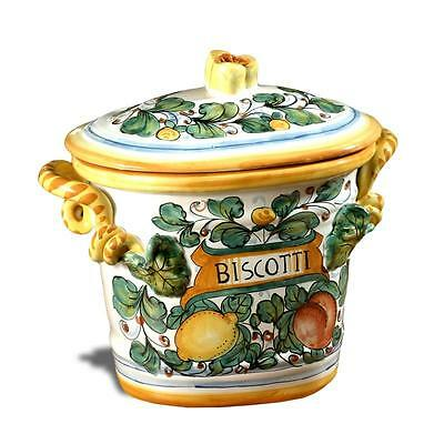 Intrada Italy Biscotti Oval Jar Lemon Accent Canister Made in Italy