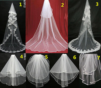 New White/Ivory Elbow/Cathedral Short/Long Bridal Accessories Wedding Veils