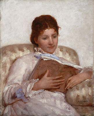 oil painting Mary Cassatt The Reader young woman reading book seated on sofa art