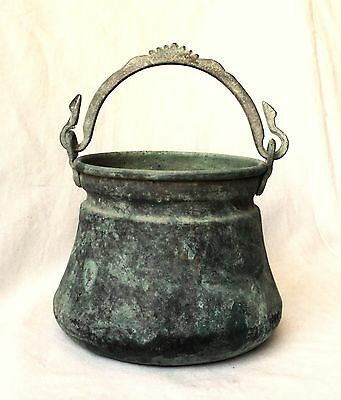 1800's Antique Middle Easteren Small Copper Bucket  , Snake's Head Shaped Handle