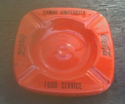 4 Vintage Lamar University & Coca Cola Red Tin Ashtray