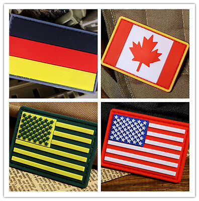3D Tactical Army Morale Military Swat Airsoft Pvc Rubber Velcro Flag Badge Patch