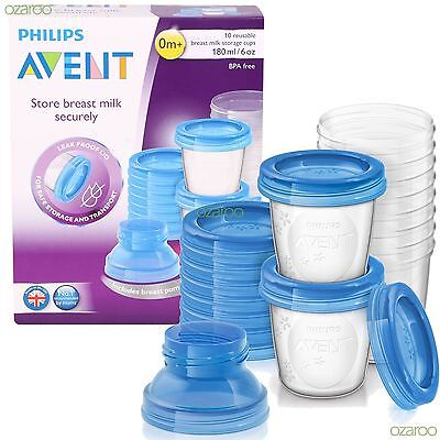 New Philips Avent Reuseable 10 Breast Milk Baby Food Storage Cups Pack SCF618/10