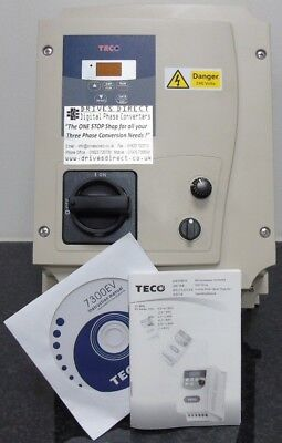 TECO  EV 2HP 240V Single to 3 Phase Converter Inverter Waterproof/Dustproof IP65