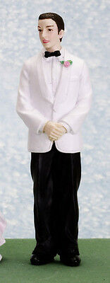 Dolls house figure, poly resin, 1/12th scale. Groom in white jcket