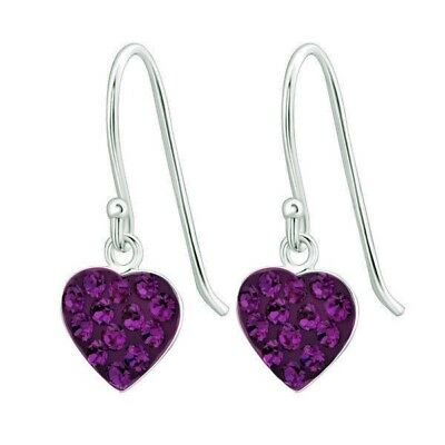 b1b22354ef58 NEW 925 STERLING Silver Czech Crystal Heart Dangle Earrings LOVE Amethyst  Purple -  17.95