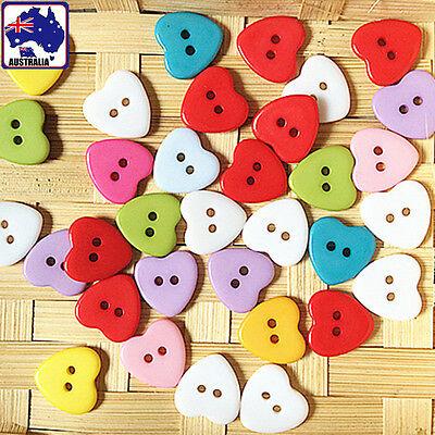 50pcs 12mm 15mm Resin Heart Button Candy Clothing Sewing 2 Hole Craft CKBUT 8