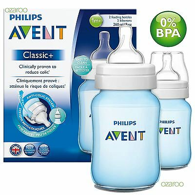 New Philips Avent Classic+ 260ml/9oz Blue Baby Boy Bottle Twin Pack SCF565/27