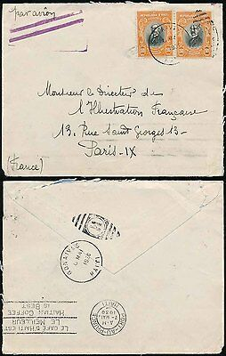 HAITI 1930 to FRANCE 2 x 50c...AIRMAIL STRUCK OUT and GONAIVES DUPLEX as TRANSIT