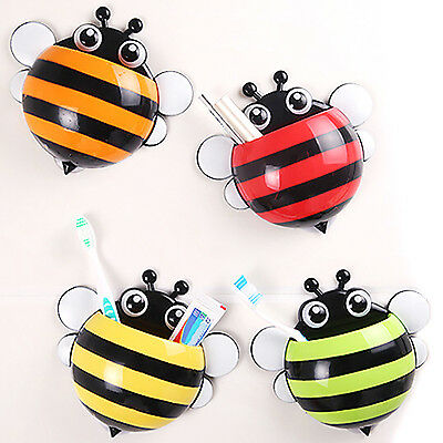 Best Animal Cute Bee Suction Cup Toothbrush Toothpaste Holder Rack Wall Sucker