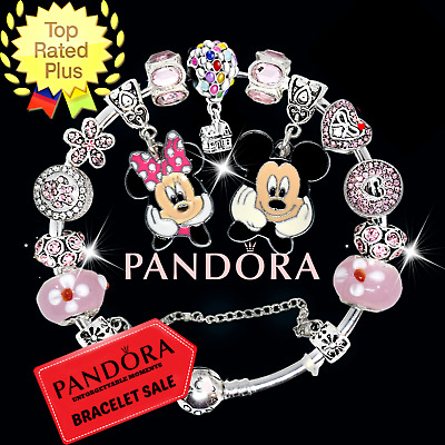 PANDORA Sterling Silver Bracelet Disney Mickey Minnie Red European Charms New