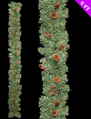Natural Christmas Garland Decoration Red berries & Pine Cones