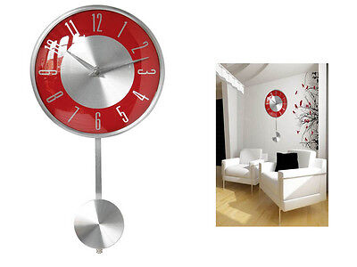 Red Pendulum Wall Mounted Clock Polished Chrome Effect Decorative Modern Home