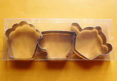 """3"""" Teapot & Teacup & muffin special party baking fondant stainless cookie cutter"""