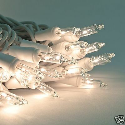 100 Clear/White Christmas /Wedding String Mini Lights - 27ft Length - White Wire