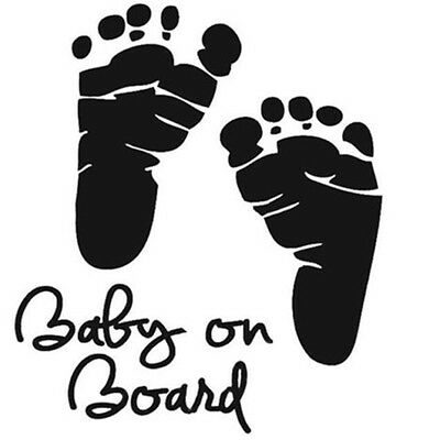 New Baby on Board Footprints Vinyl Car Graphics Window Wall Sticker Decal Decor