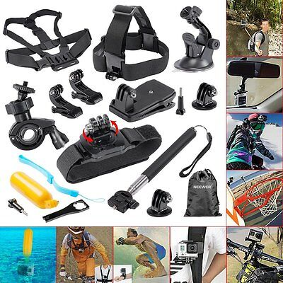 Neewer® 12-In-1 Outdoor Sports Essentials Kit for GoPro Hero 4 Silver Black gift
