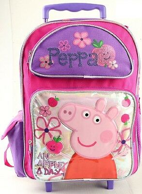 """Peppa Pig & Pals 16"""" inches Rolling Backpack Girls Licensed - White - BRAND NEW"""