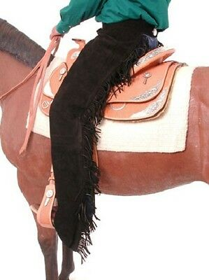 Western Saddle Horse Show Black Suede Leather Chaps W/ Fringe  Xs S M L Xl Xxl