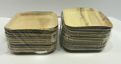 """Bamboo Leaf Square Plates 6"""" 50 Pack"""
