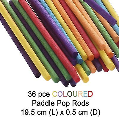 36 Wooden Craft Sticks Paddle Pop Stick Round Coloured Rods 19.5 x 0.5cmD