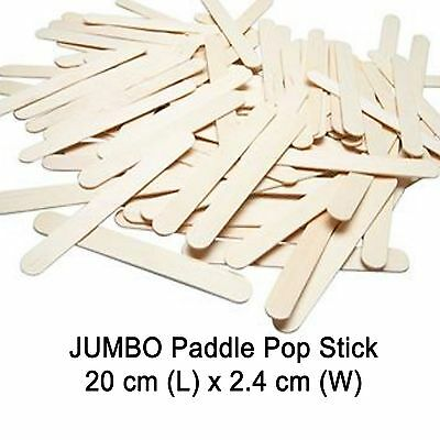 40x JUMBO Natural Wooden Craft Stick Paddle Pop Popsicle Sticks 20x2.4cm