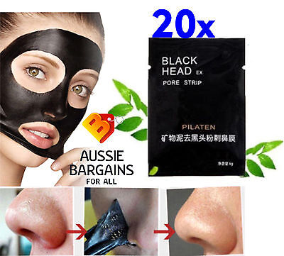 20 X PILATEN BLACKHEAD REMOVER- Face Mask Pore Cleansing Black Head Strip Nose