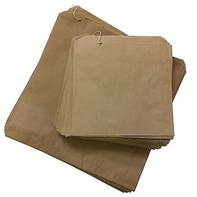 "500 x Brown Paper Bags 12"" x 12"" Kraft Strung Fruit Sweets Groceries Bread Gifts"