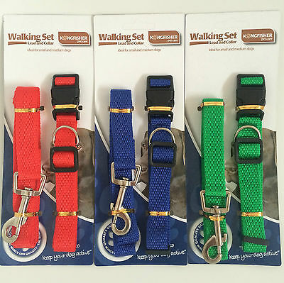 Adjustable Dog Collar And Lead Set Nylon Fabric 1.2m Pet Walking Puppy Leash