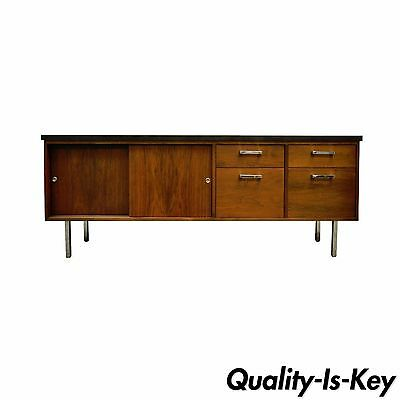 Vintage Mid Century Modern Walnut & Chrome Credenza Cabinet Florence Knoll Style