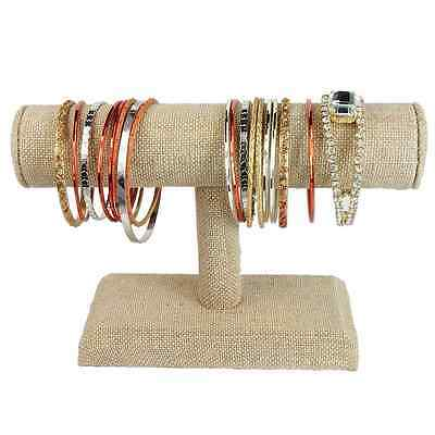 Jewelry Organizer Display Bracelet Watch Stand Linen T Bar Handmade Collection