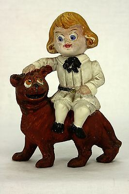 Antique German Buster Brown and Tige Paper Mache Candy Container ca1915
