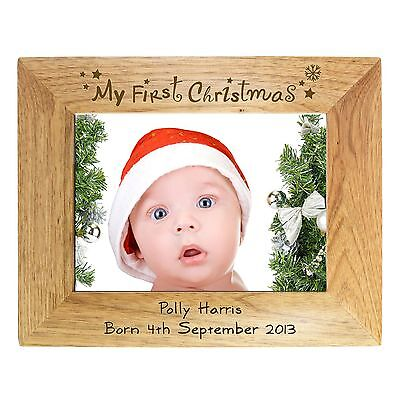 Personalised My First Christmas Wooden Photo Frame 6 X 4  Present Gift