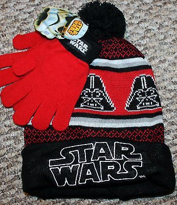 New! Boys STAR WARS Gloves and Hat Set (Red/Black; Darth) - One Sz Youth 4-5-6
