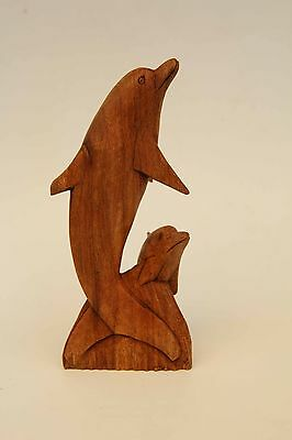 Wooden Mother & Baby Dolphin - Wood Marine Statue