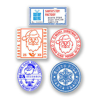 5 x 4cm Christmas Stamp Vinyl Stickers for Kids Christmas Letter to Santa #6601