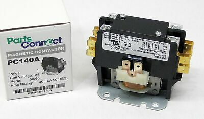 C140A Contactor Single One 1 Pole 40 Amps 24 Volts A/C Air Conditioner NEW