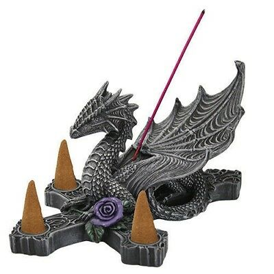 NEW Anne Stokes Gothic Dragon w/ Purple Rose Incense Burner Stick and Cone Decor