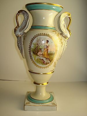 Sevres French Victorian Style Vase With Swan Double Handlefine Gold