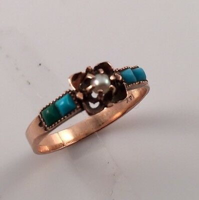 Antique Victorian Pearl & Turquoise 14k Rose Gold Ring. Sizing Available!