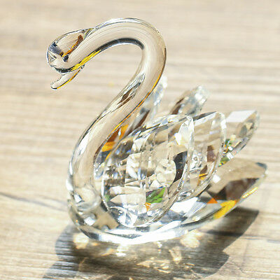 3D Clear Crystal Swan Paperweight Facet Animal Figurine Glass Crafts Home Decor